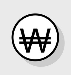 Won sign flat black icon in white circle vector