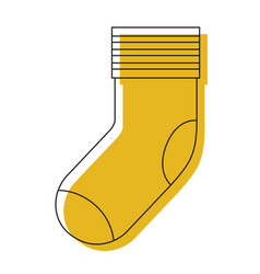 Yellow watercolor silhouette of one sock vector