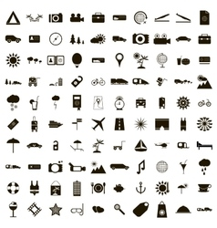 100 Travel Icons set simple style vector image
