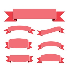 Pink ribbon banners set flat vector