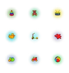 Kids fun icons set pop-art style vector
