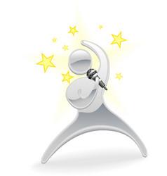 metallic cartoon character pop star singer vector image
