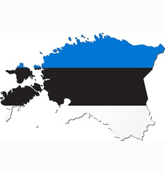 Map of estonia with national flag vector