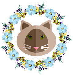 A cat and blue floral wreath vector