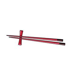 Bamboo asian chinese japanese chopstick pair vector