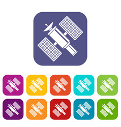 Space satellite icons set vector