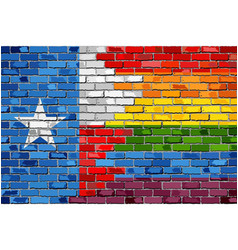 Brick wall texas and gay flags vector