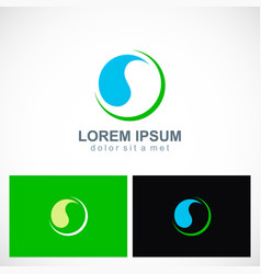 round ecology abstract water drop logo vector image