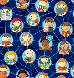 Social network seamless pattern with cute vector