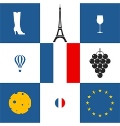 France icon set vector