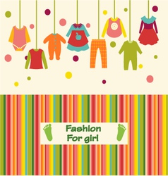 Clothes collection for girl fashion background vector