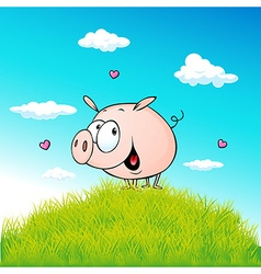 Cute pig standing on green grass - cartoon vector