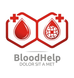 Logo blood help hexagon donors healthy symbol vector