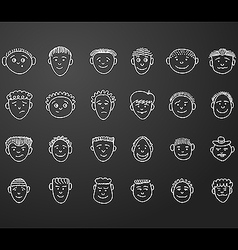 Icon set 24 face man white vector