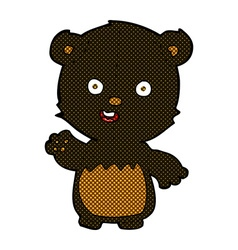 Comic cartoon waving black bear cub vector