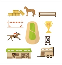 Horse sport icons set vector