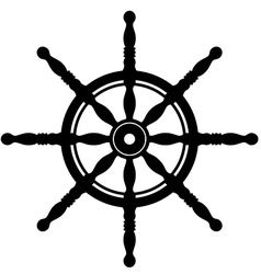 Ship steering wheel silhouette isolated on white vector