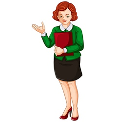 A businesswoman holding a report book vector