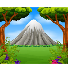 Beatiful mountain in forest vector