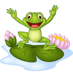 Cartoon happy frog jumping on a water lily vector image