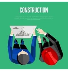 Construction banner top view of engineer builders vector