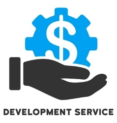 Development service flat icon with caption vector