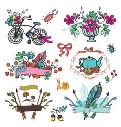 Doodle floral grouphand sketch vintage element vector image vector image