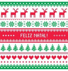 Feliz natal card - scandynavian christmas pattern vector