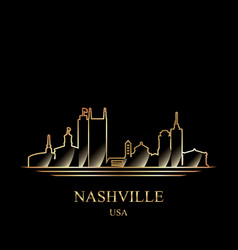 Gold silhouette of nashville on black background vector