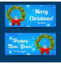 Greeting christmas and new year baners set vector