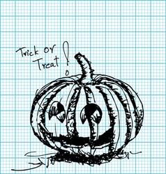 halloween pumpkin sketch on graph paper vector image vector image