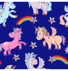 Hand drawn unicorns seamless pattern blue vector
