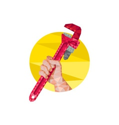 Hand holding wrench circle low polygon vector