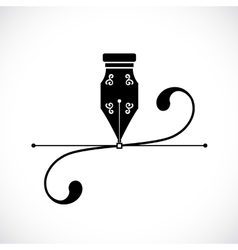 Ink pen anchor point with handles or bezier curve vector