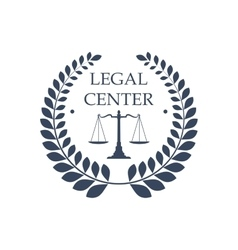 Legal center icon law justice scales symbol vector image