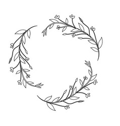 Line branches with leaves and flowers decoration vector