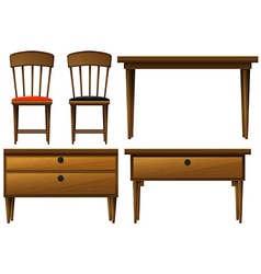 Many types of wooden furnitures vector image