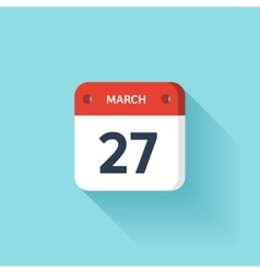 March 27 isometric calendar icon with shadow vector
