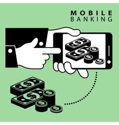 Mobile banking dollar vector