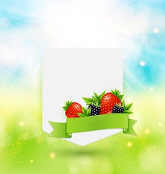 Paper note with ribbon berries and leaves on vector
