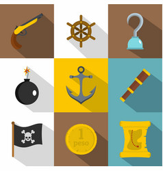 pirates adventure icon set flat style vector image vector image