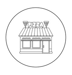 Pizzeria icon in outline style isolated on white vector