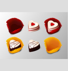 Realistic tasty desserts collection vector