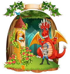 scene with knight saving princess from the dragon vector image vector image