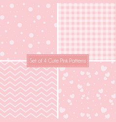Set of 4 cute pink patterns and textures vector