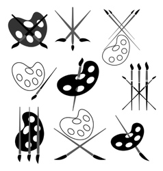 Set of Different Paint Brush Icons vector image
