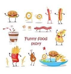 Set of Fast Food Products in Flat Design vector image vector image