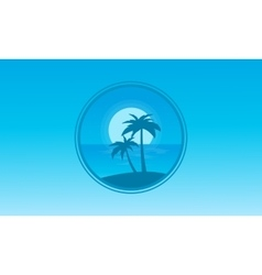 Silhouette of beach icon landscape vector image vector image