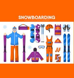snowboarding skiing sport equipment snowboarder vector image