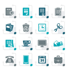 Stylized business and office tools icons vector